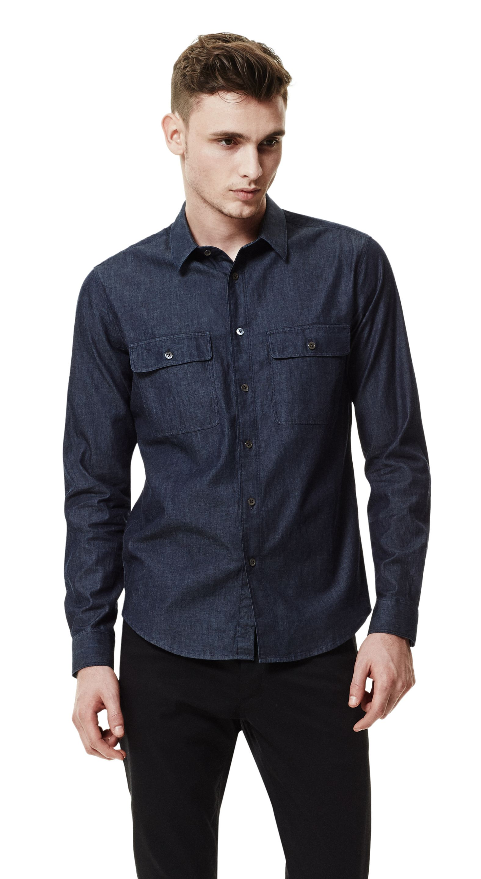 theory chambray shirt in blue for lyst