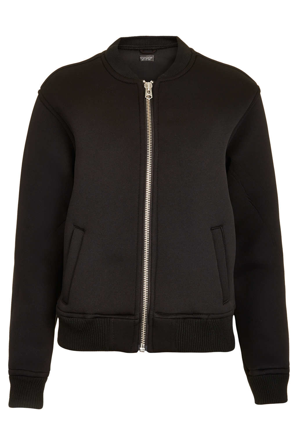 Topshop Neoprene Bomber Jacket in Black | Lyst