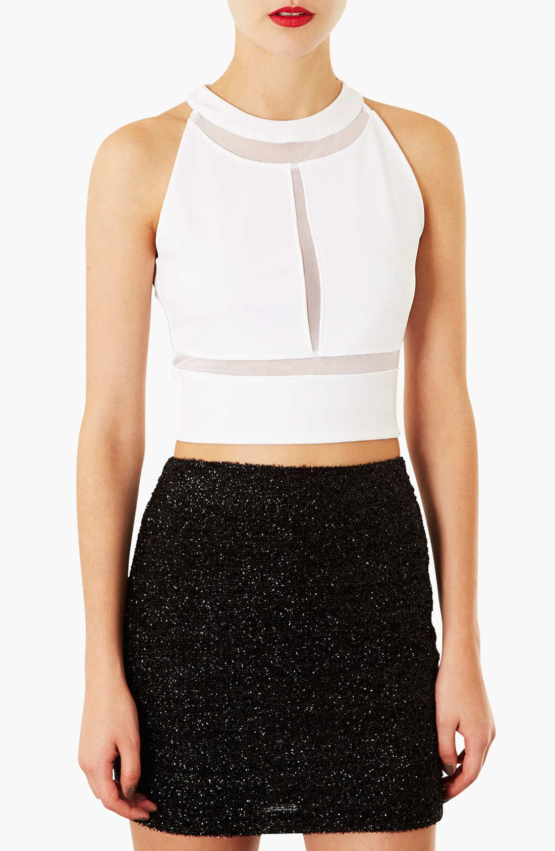 Topshop Mesh Panel Crop Top in White | Lyst - photo#13