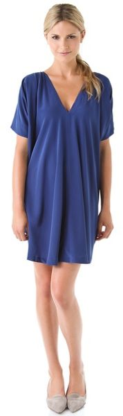 Vince V Neck Silk Dress in Blue - Lyst