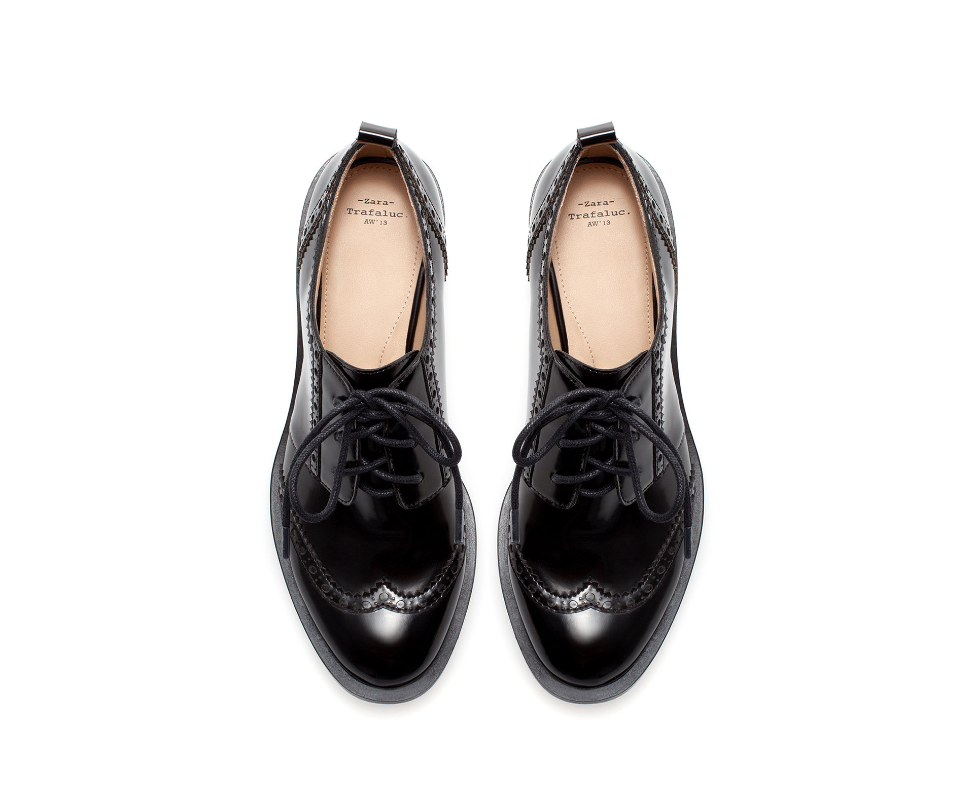 Zara Brogue Blucher In Black Lyst