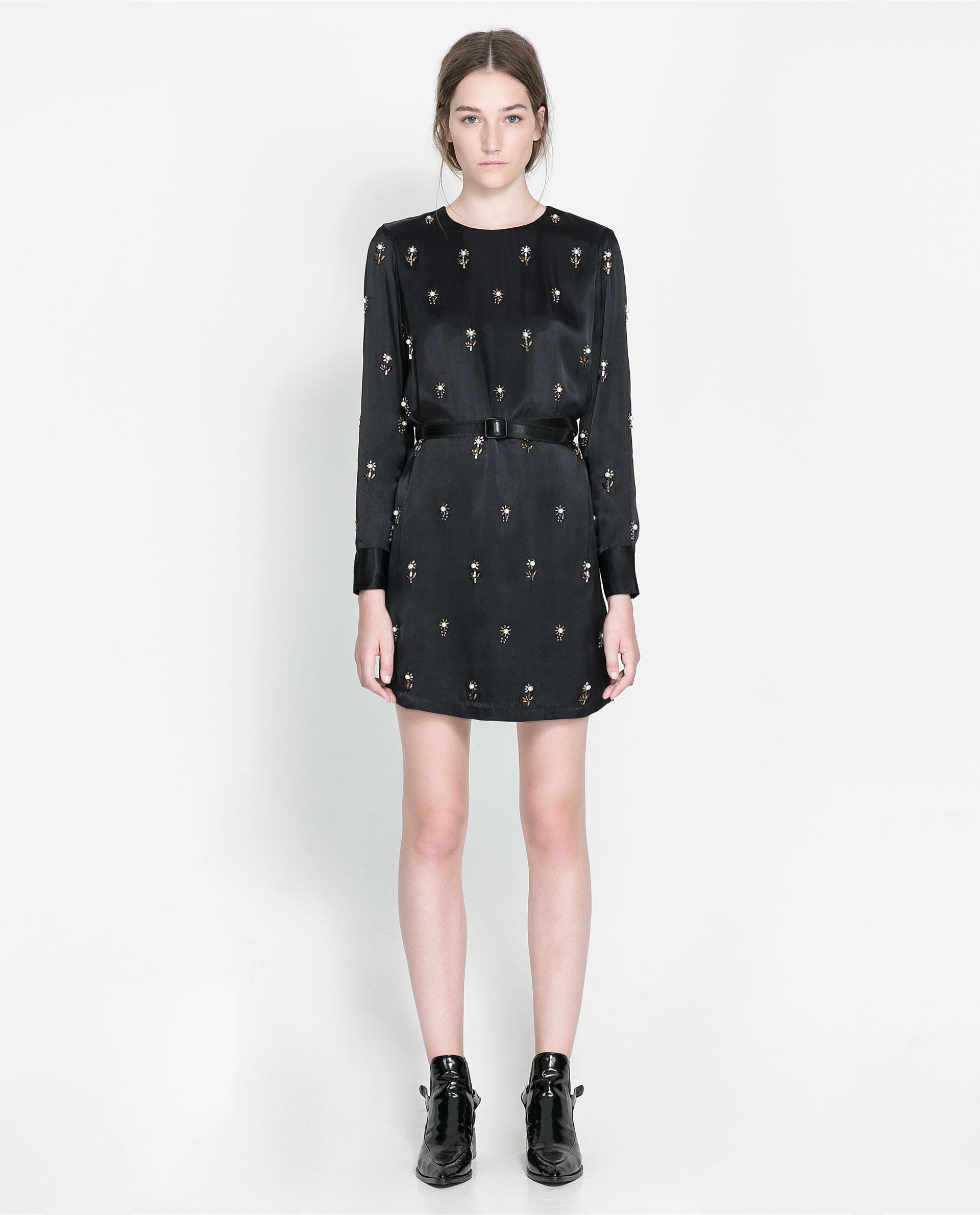 Zara Embroidered Satin Dress In Black   Lyst