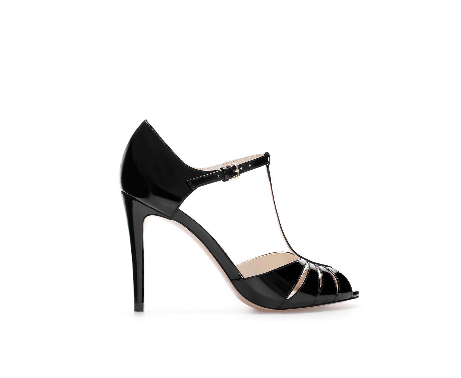zara high heel shiny shoe in black lyst