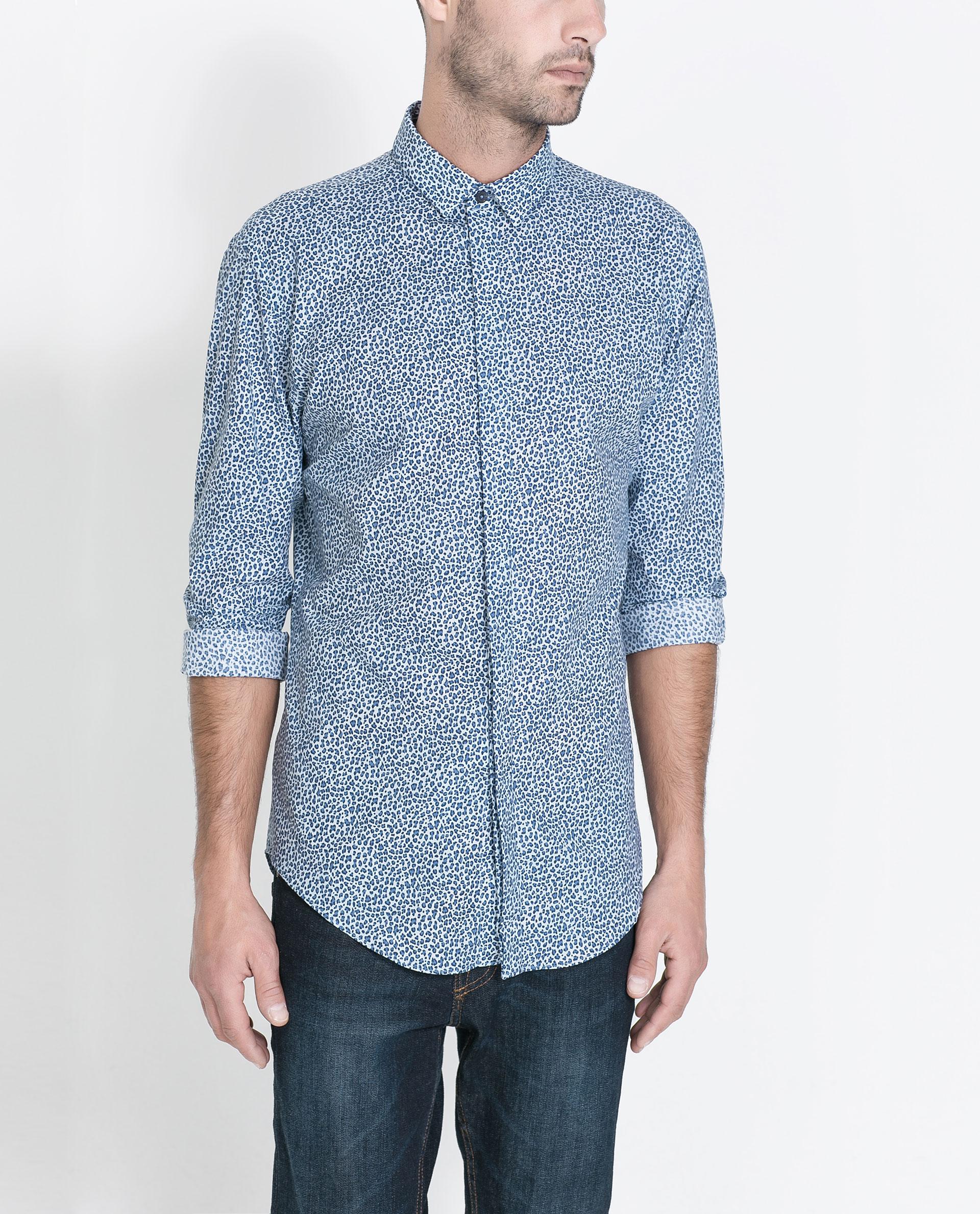 Zara animal print shirt in blue for men lyst for Zara mens shirts sale