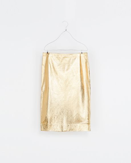 zara metallic leather skirt in gold lyst