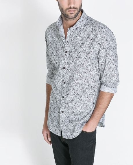 zara floral print shirt in gray for men grey lyst