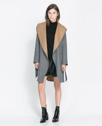 Zara Hooded Wool Coat - Lyst