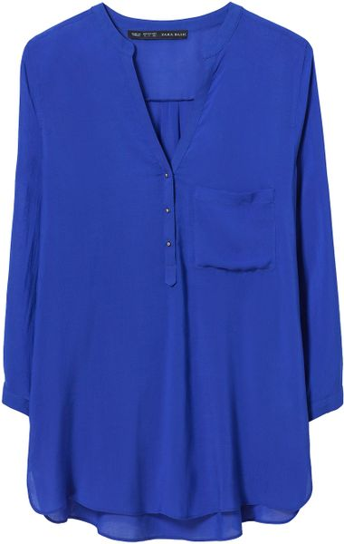 Zara Blouse With Three Quarter Length Sleeve In Blue