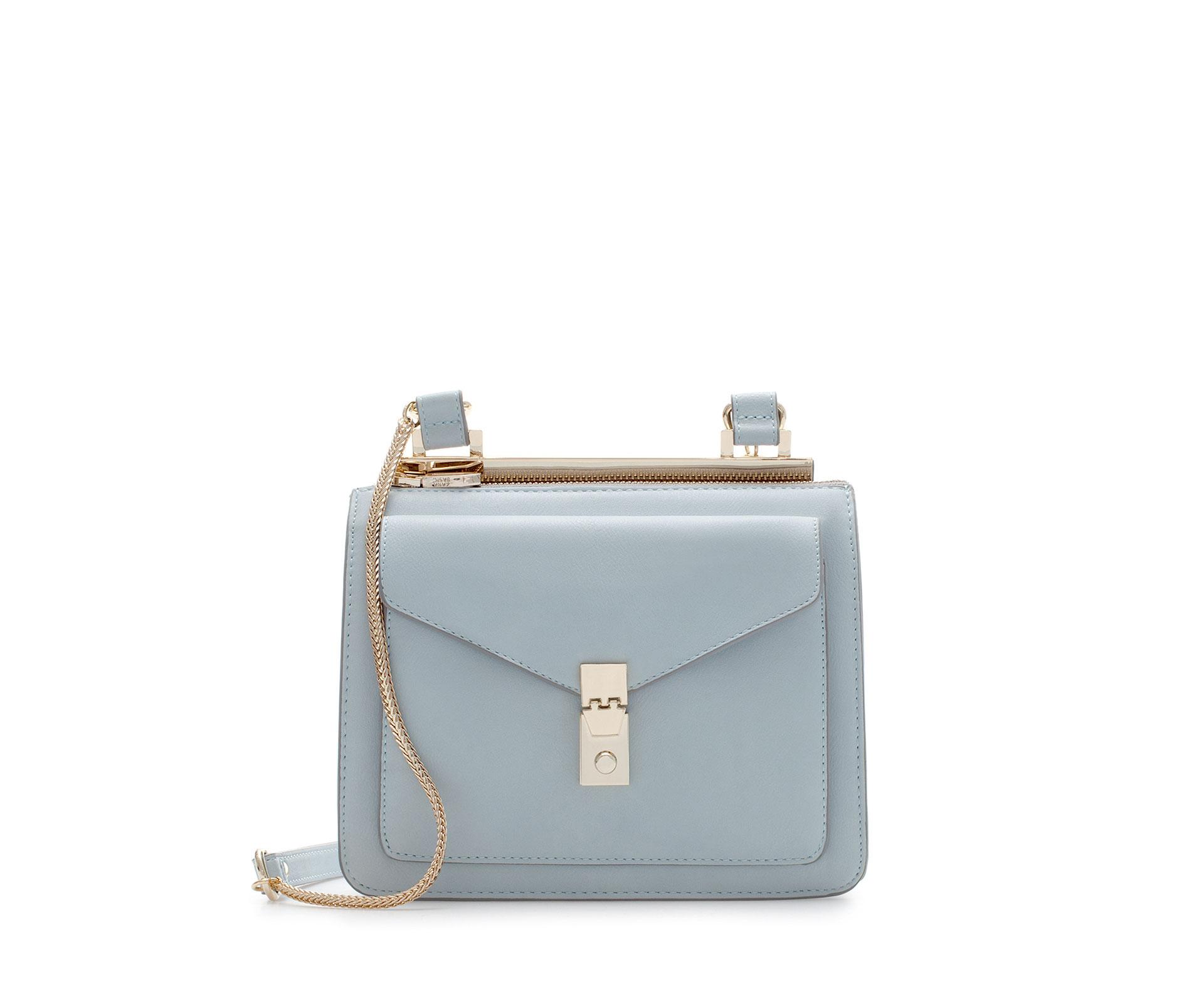 Zara Messenger Bag With Metallic Fastener In Blue Sky