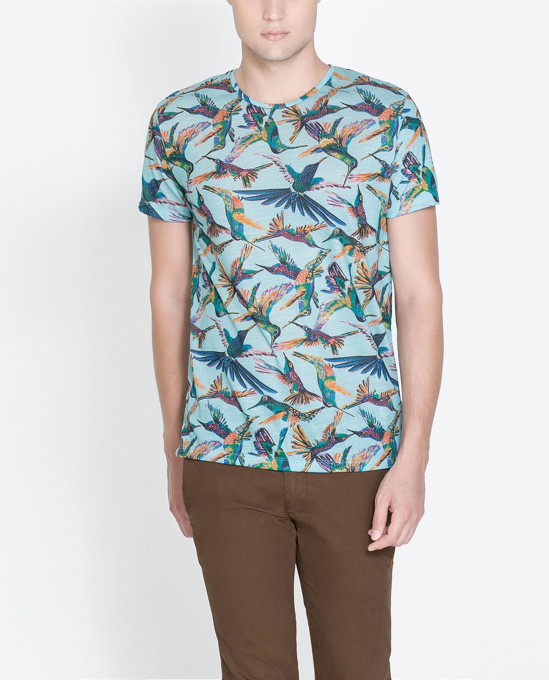 Zara hummingbird tshirt in blue for men turquoise lyst for Zara mens shirts sale