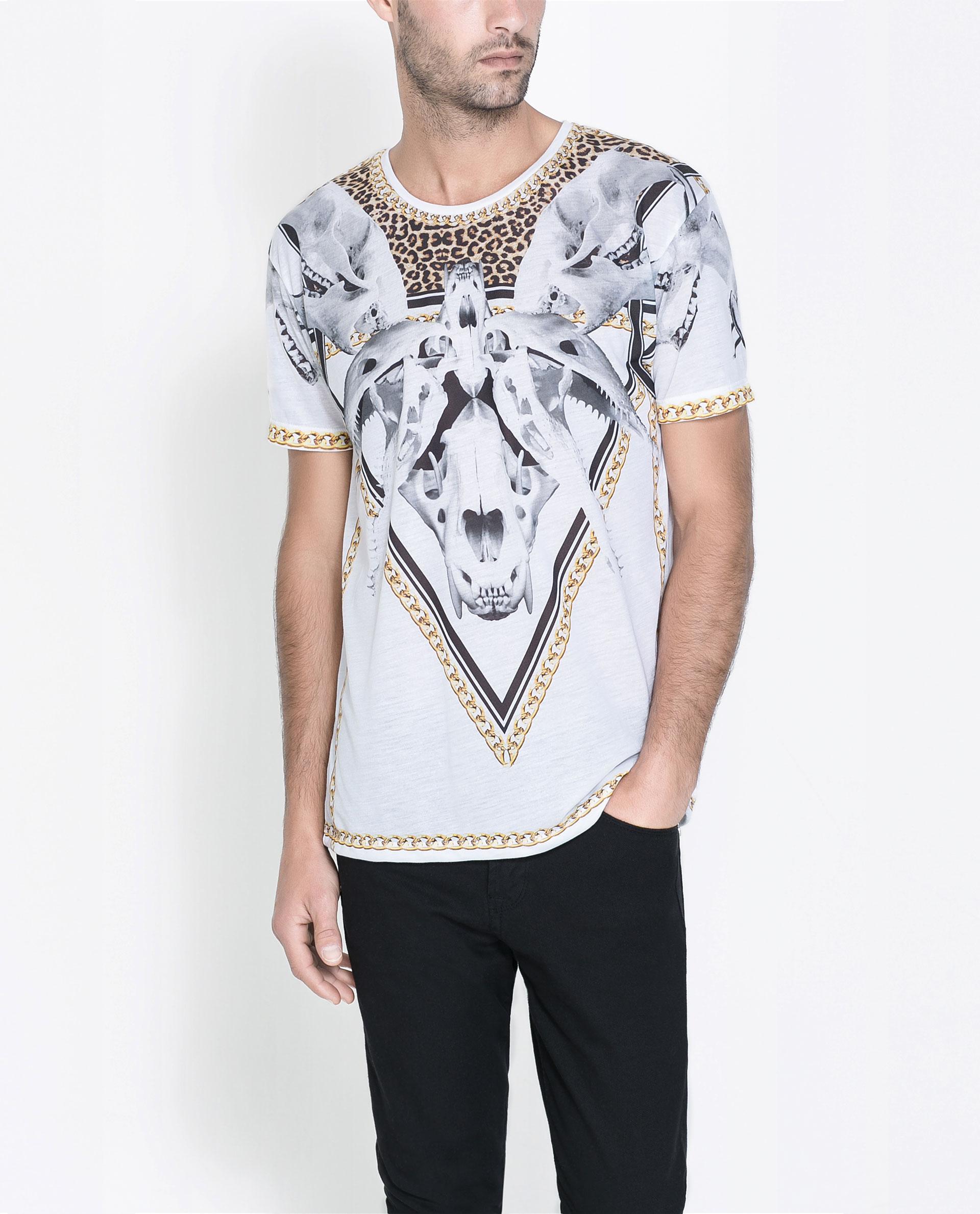 zara bones t shirt in white for men lyst. Black Bedroom Furniture Sets. Home Design Ideas