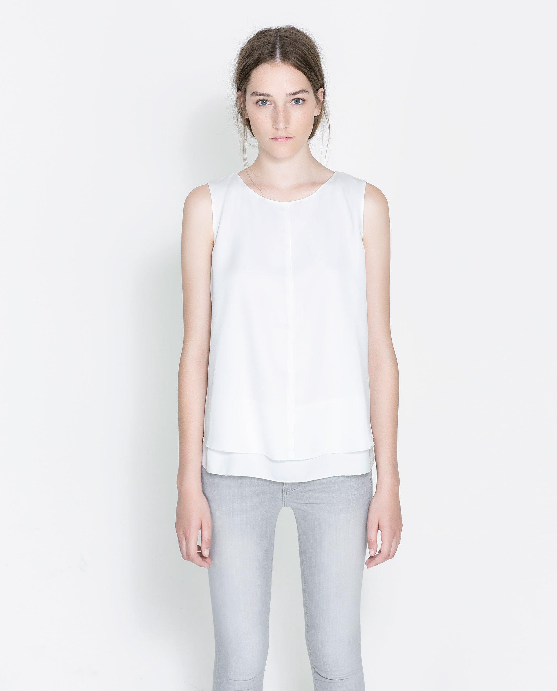 Womens White Sleeveless Blouse 39