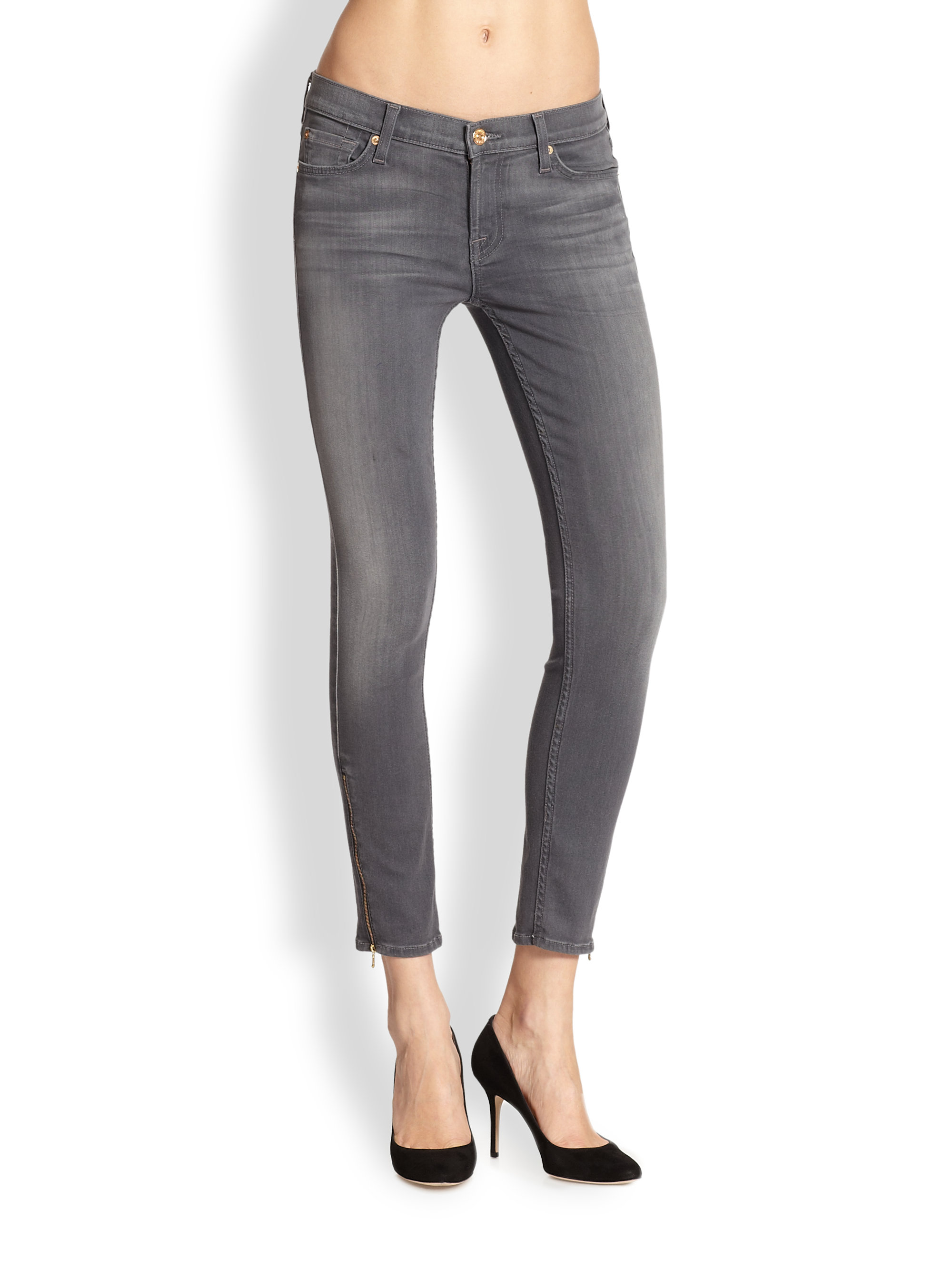 7 for all mankind The Skinny Cropped Ankle-Zip Jeans in Gray | Lyst