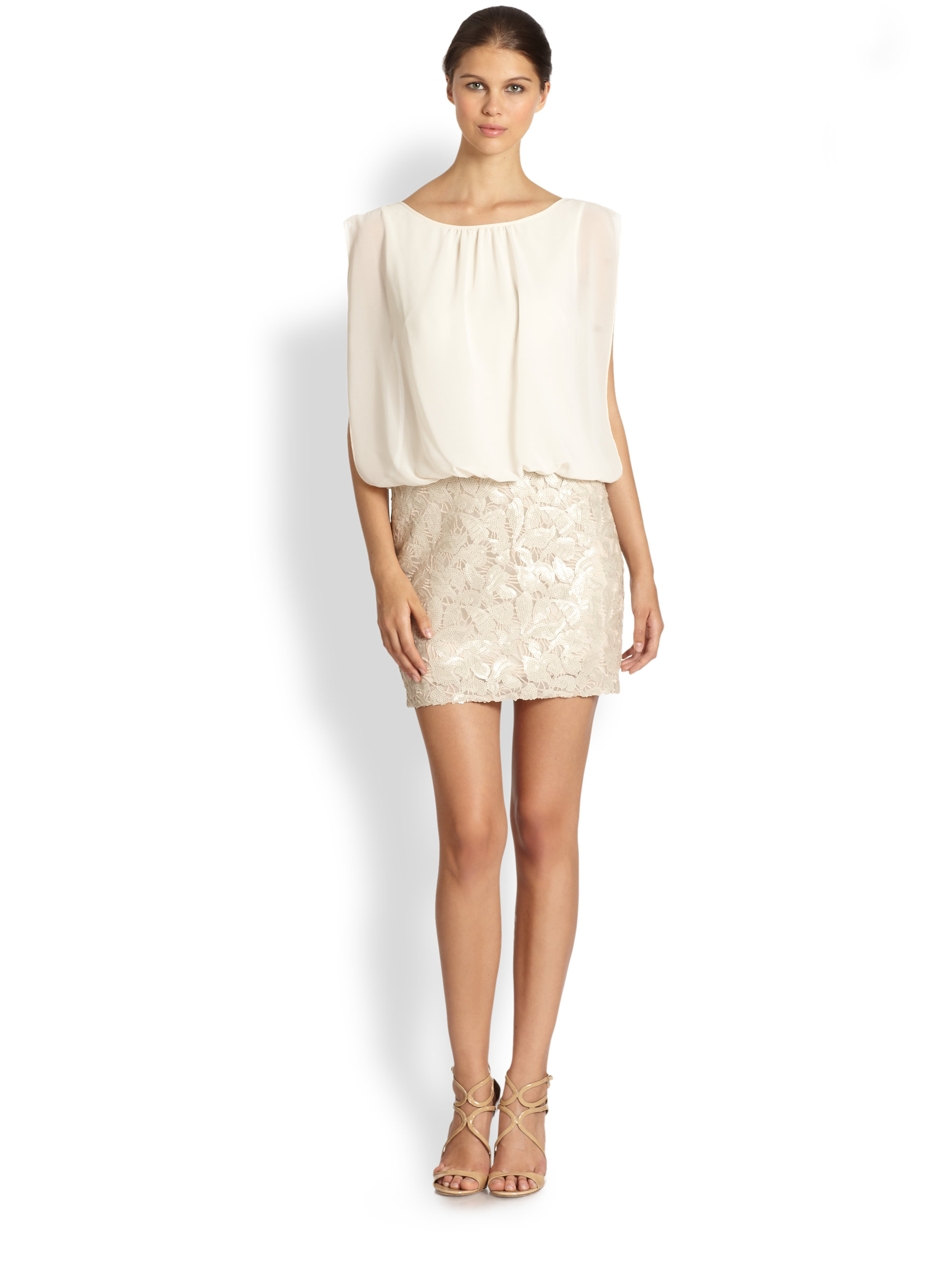 e27173f007e Aidan Mattox Blouson Cocktail Dress in Natural - Lyst
