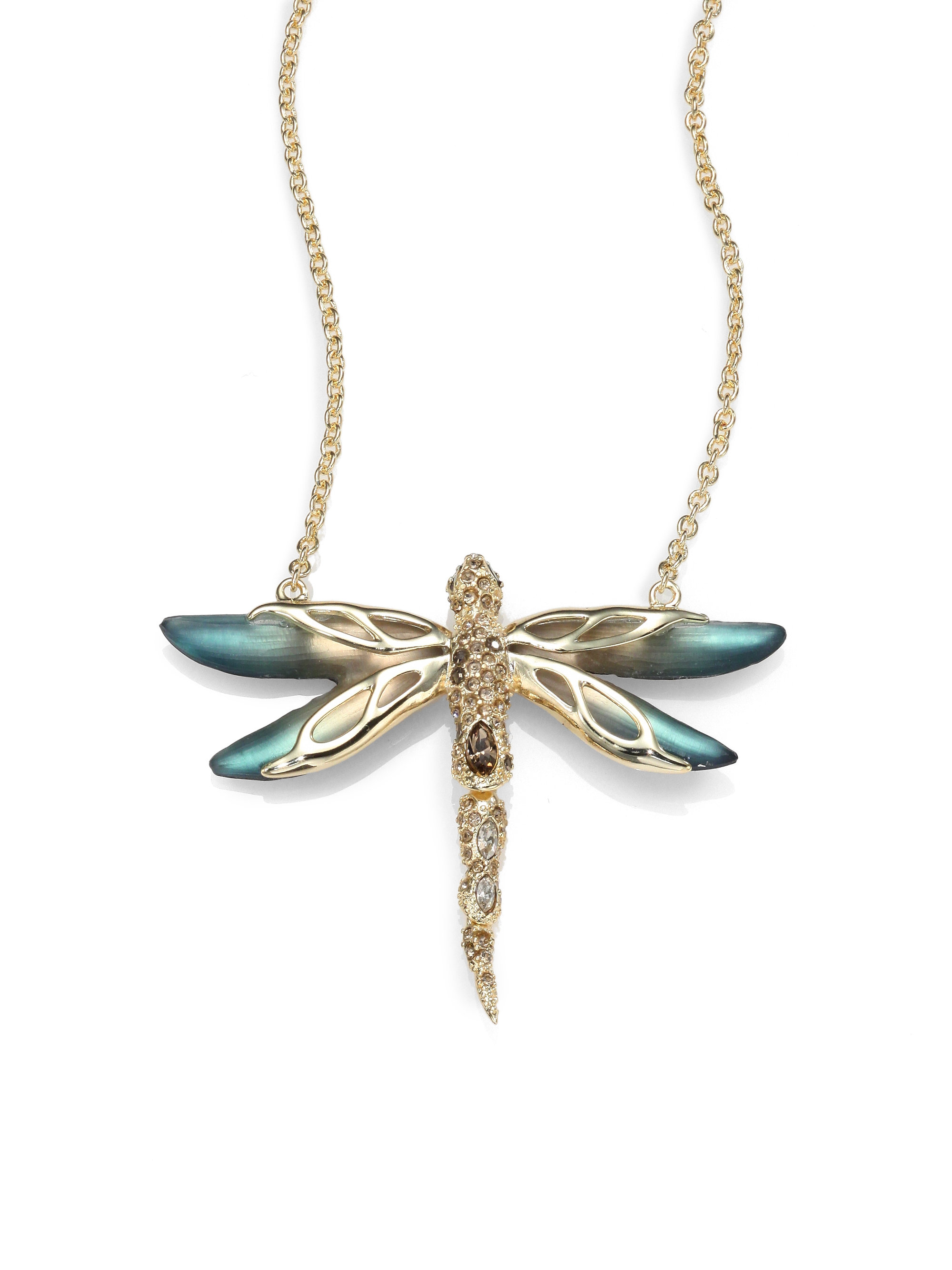 dragonfly gold views with rose pendant more diamonds