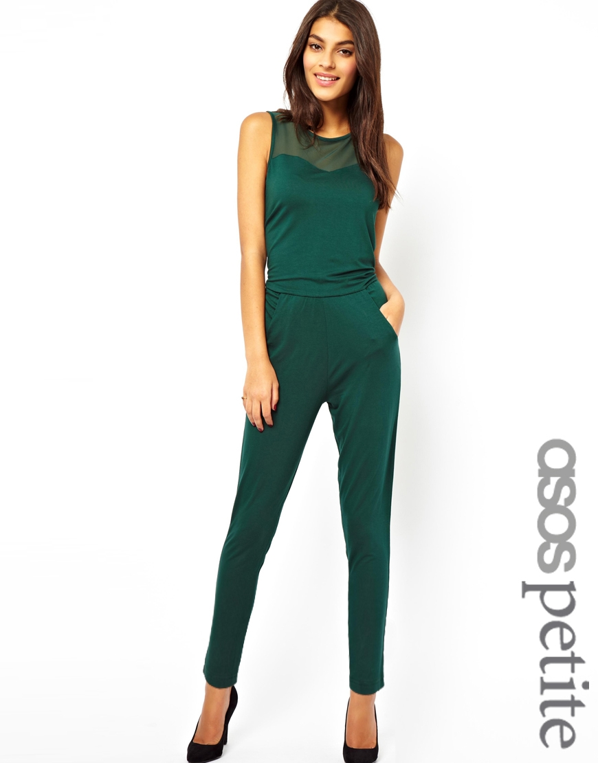 15cbf9009d4 Lyst - ASOS Exclusive Jumpsuit with Mesh Insert in Green