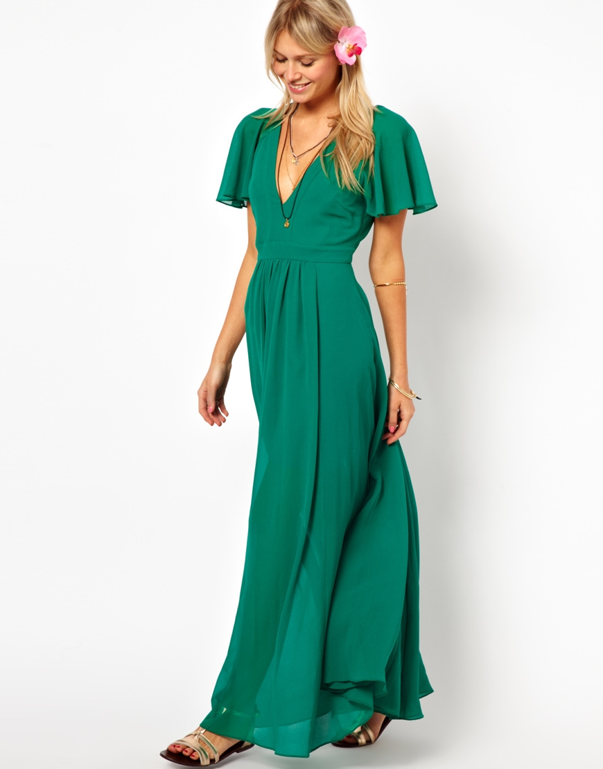 94b6dd33697b Lyst - ASOS Maxi Dress with Deep Plunge and Ruffle Sleeve in Black