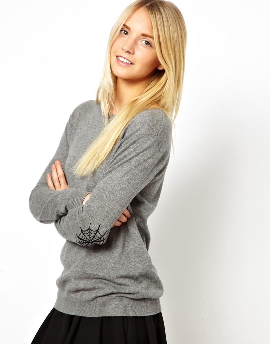 ecbdf24d80 Lyst - Mimi Holliday By Damaris Asos Sweater with Cobweb Elbow Patch ...