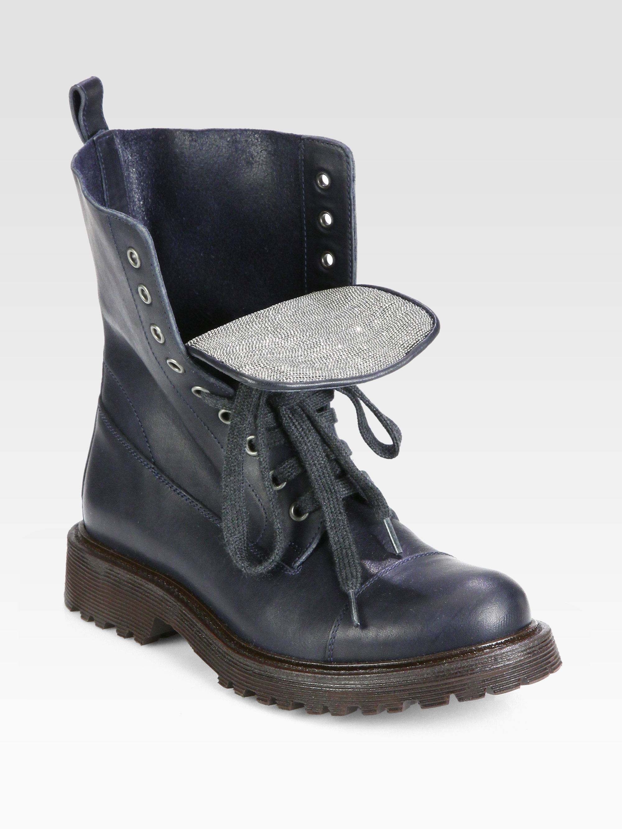 brunello cucinelli leather laceup combat boots in blue
