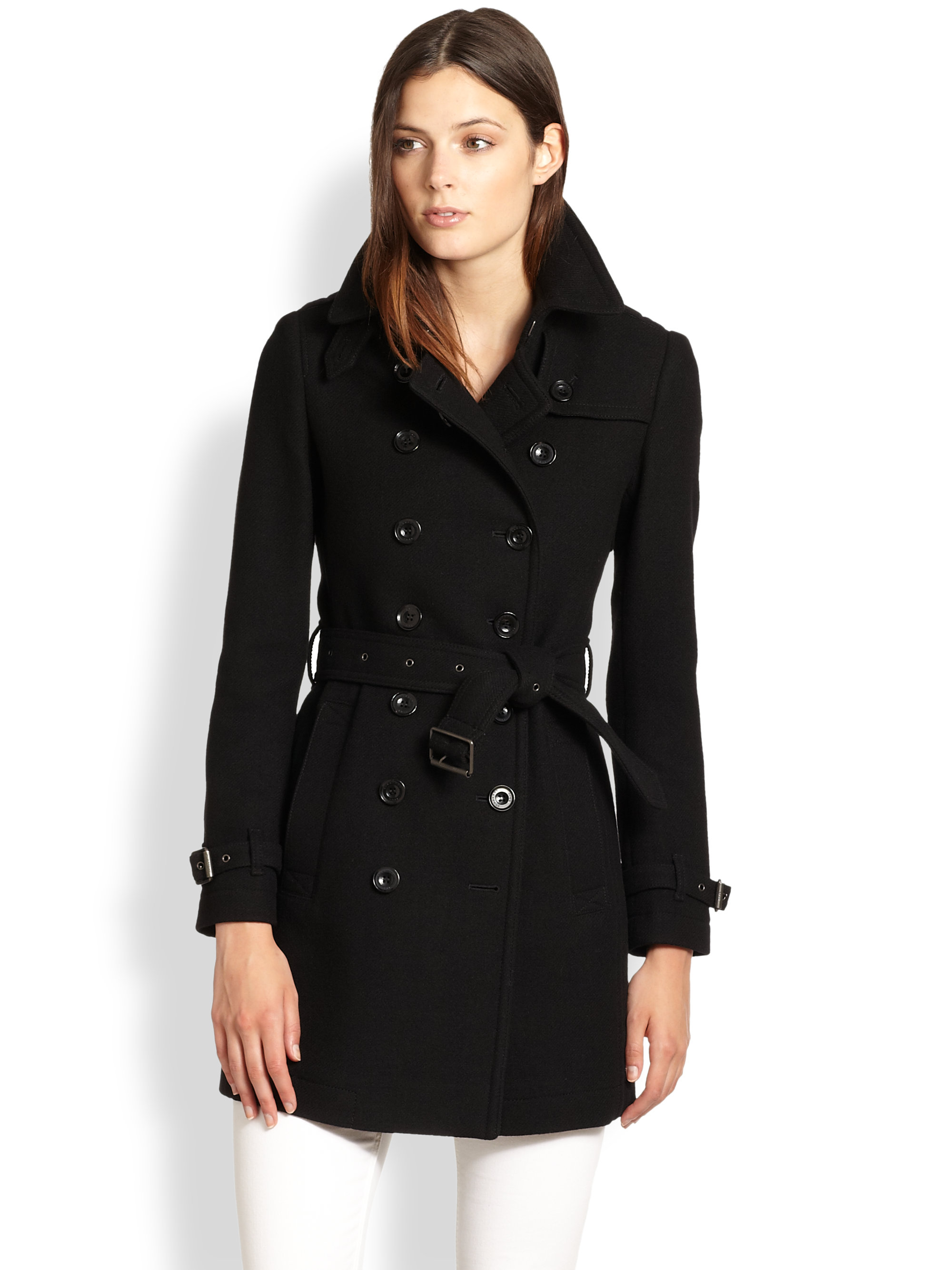Burberry brit Wool Belted Pea Coat in Black | Lyst