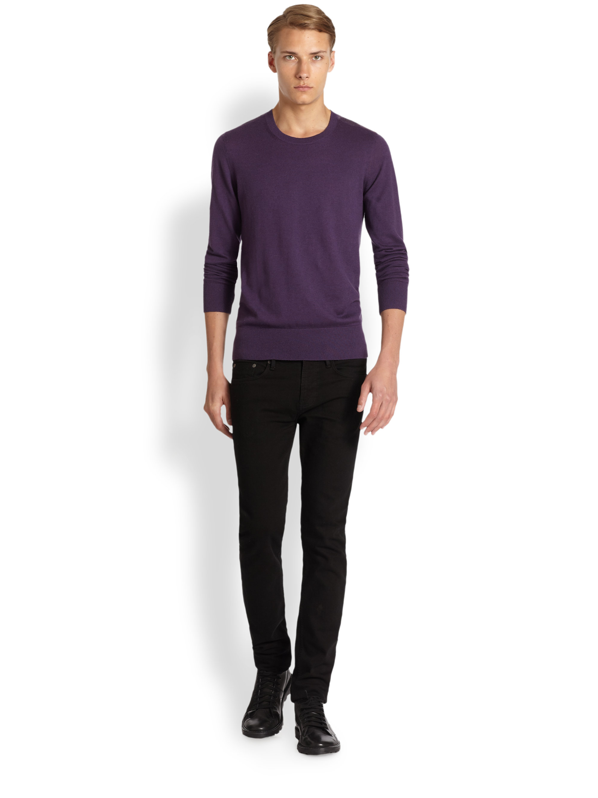 Burberry brit Jarvis Cashmere Cotton Sweater in Purple for Men | Lyst