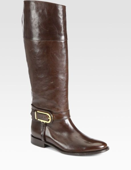burberry winton leather boots in brown chocolate