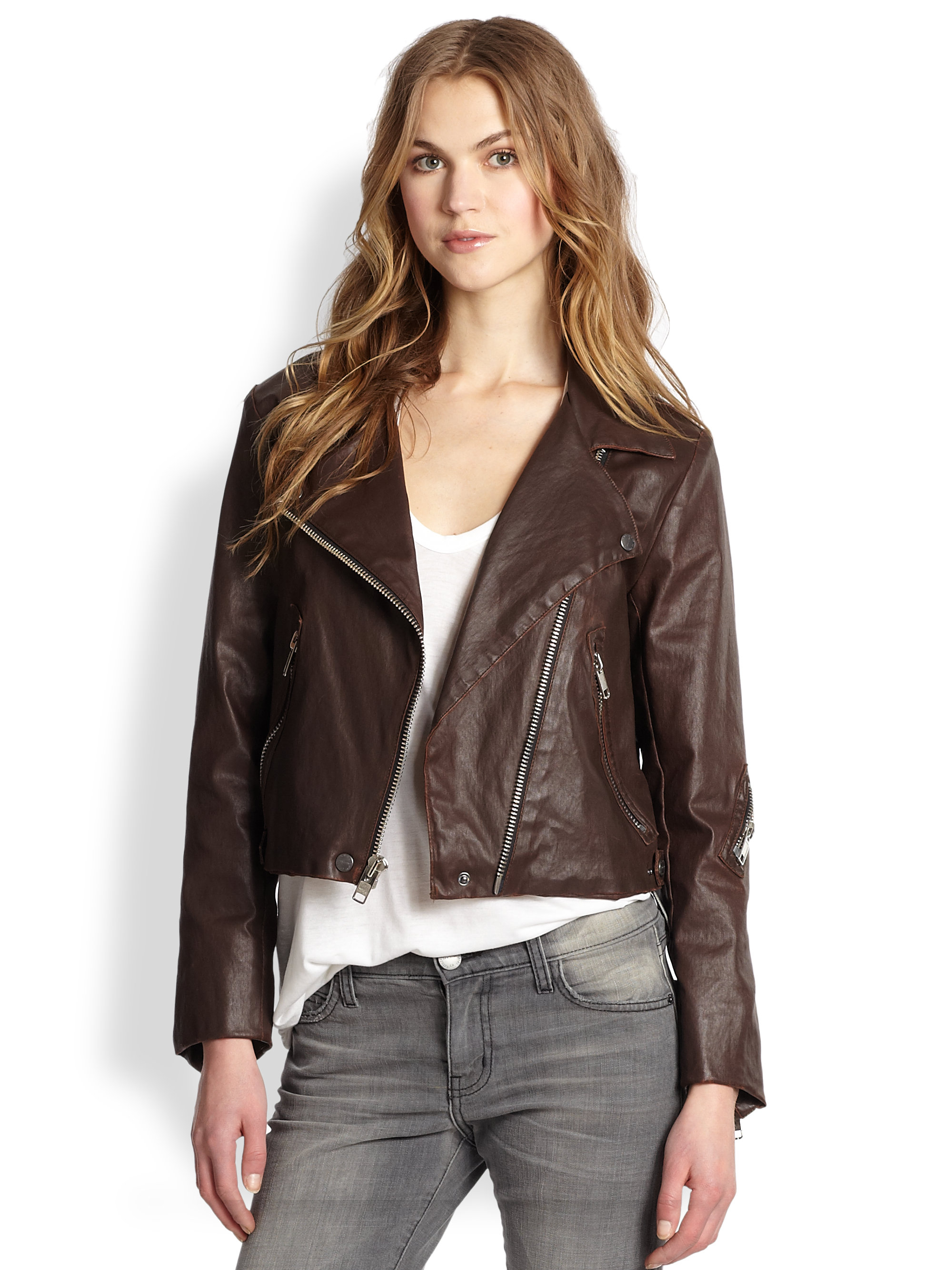 Current/elliott The Soho Biker Faux Leather Jacket in Brown | Lyst
