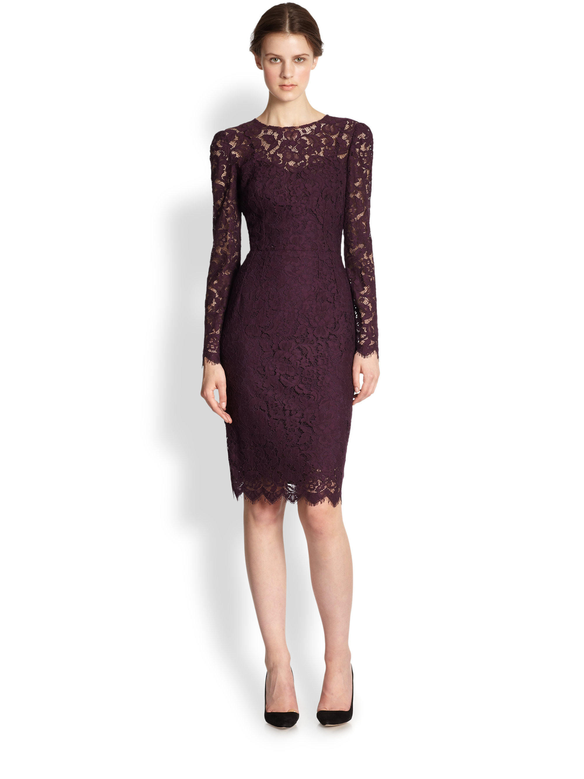 Lyst Dolce Amp Gabbana Long Sleeve Floral Lace Scalloped