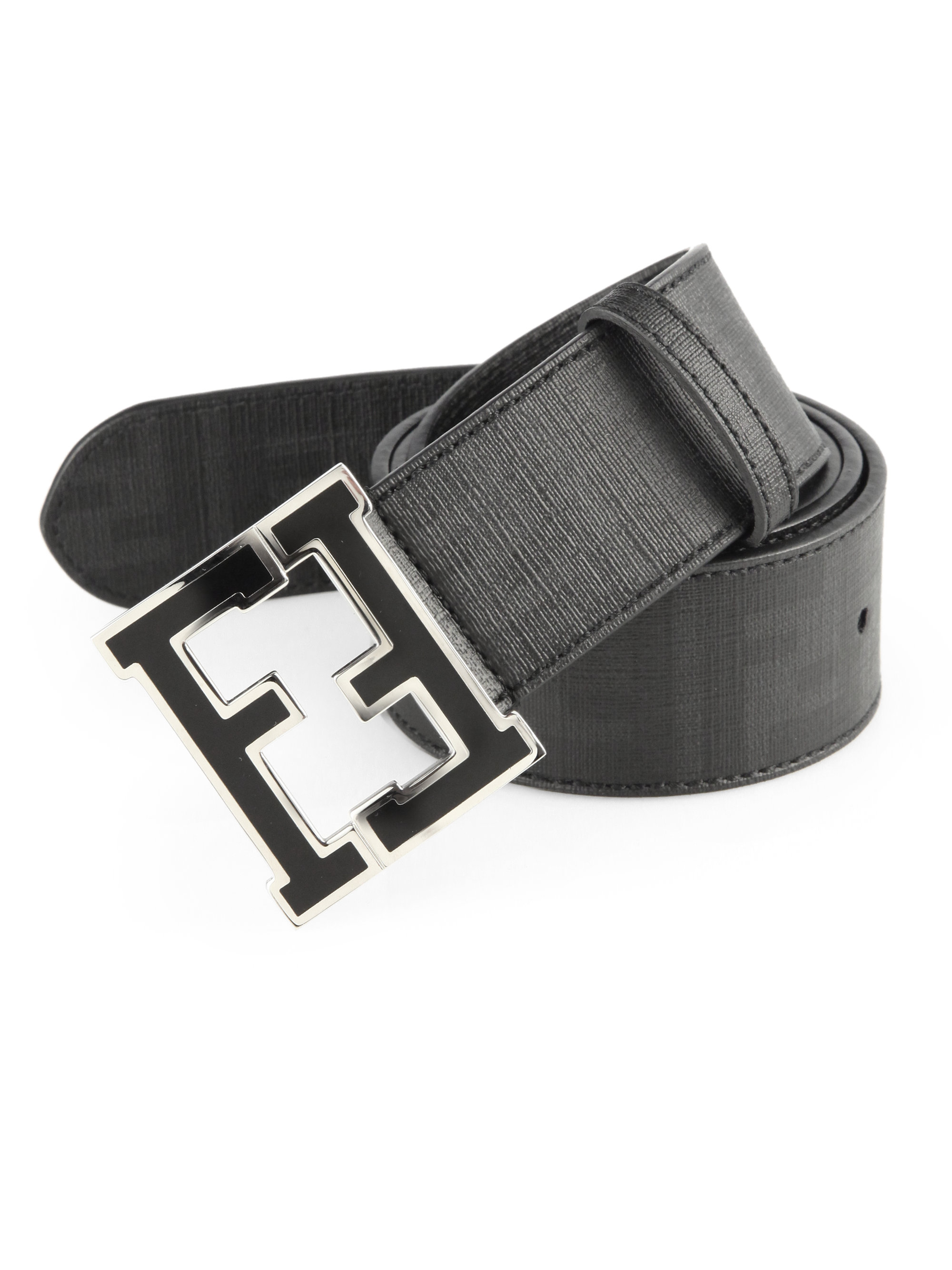lyst fendi logo college belt in white for men