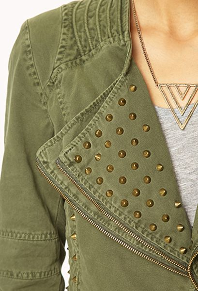 Forever 21 Militaryinspired Spiked Denim Jacket In Green