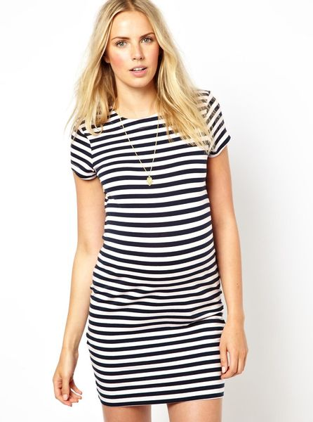 French Connection Maternity Stripe T Shirt Dress In Black