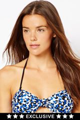 French Connection Exclusive To Asos Pebble Print Knot Bandeau Bikini Top - Lyst