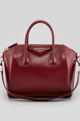 Givenchy Antigona Small Shiny Box Satchel Bag Burgundy - Lyst