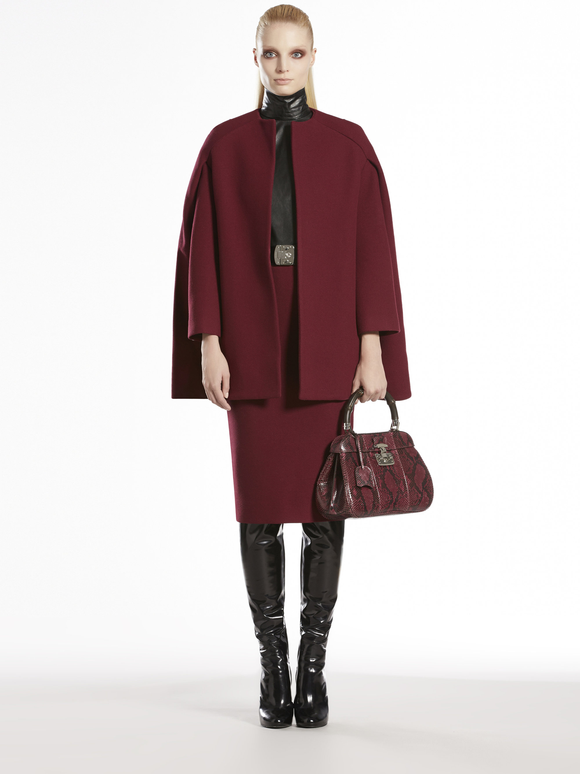 Gucci Wool Cape Coat In Red Lyst