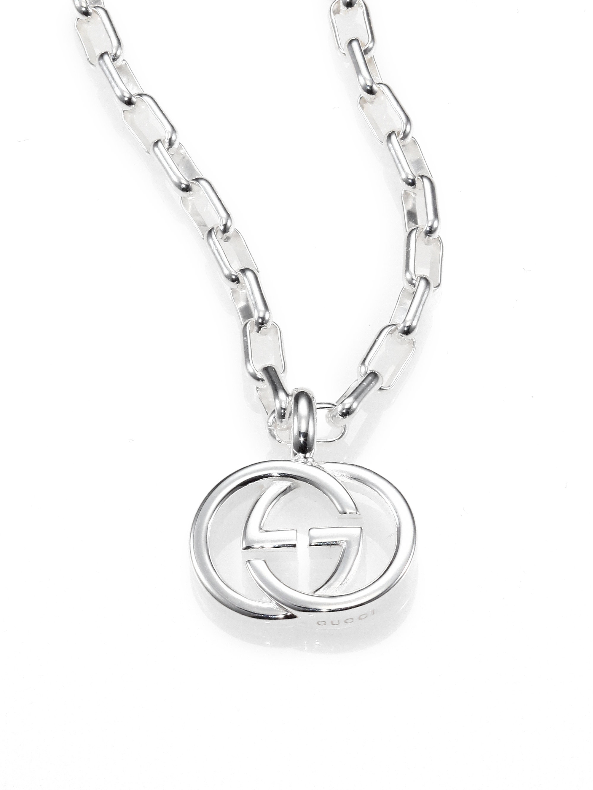 Lyst gucci sterling silver interlocking gg pendant necklace in gallery mozeypictures Choice Image