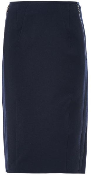 lanvin wool pencil skirt in blue navy lyst