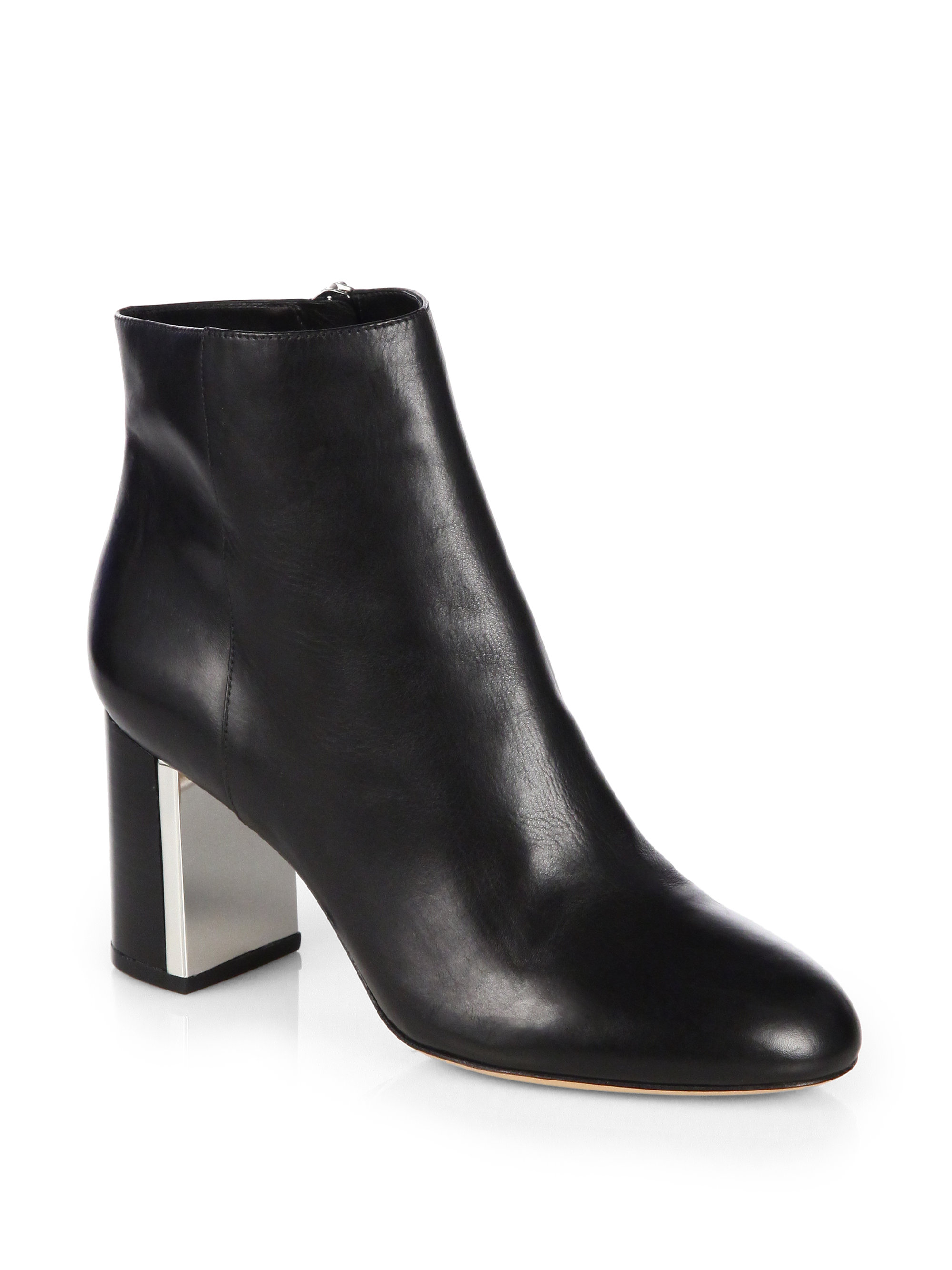 Michael Kors Vivi Leather Ankle Boots In Black | Lyst