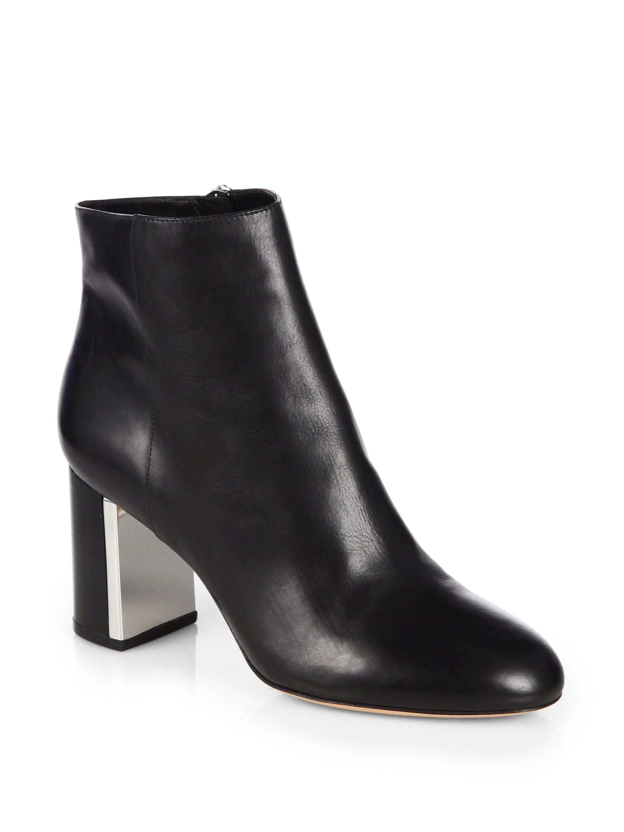michael kors vivi leather ankle boots in black lyst. Black Bedroom Furniture Sets. Home Design Ideas