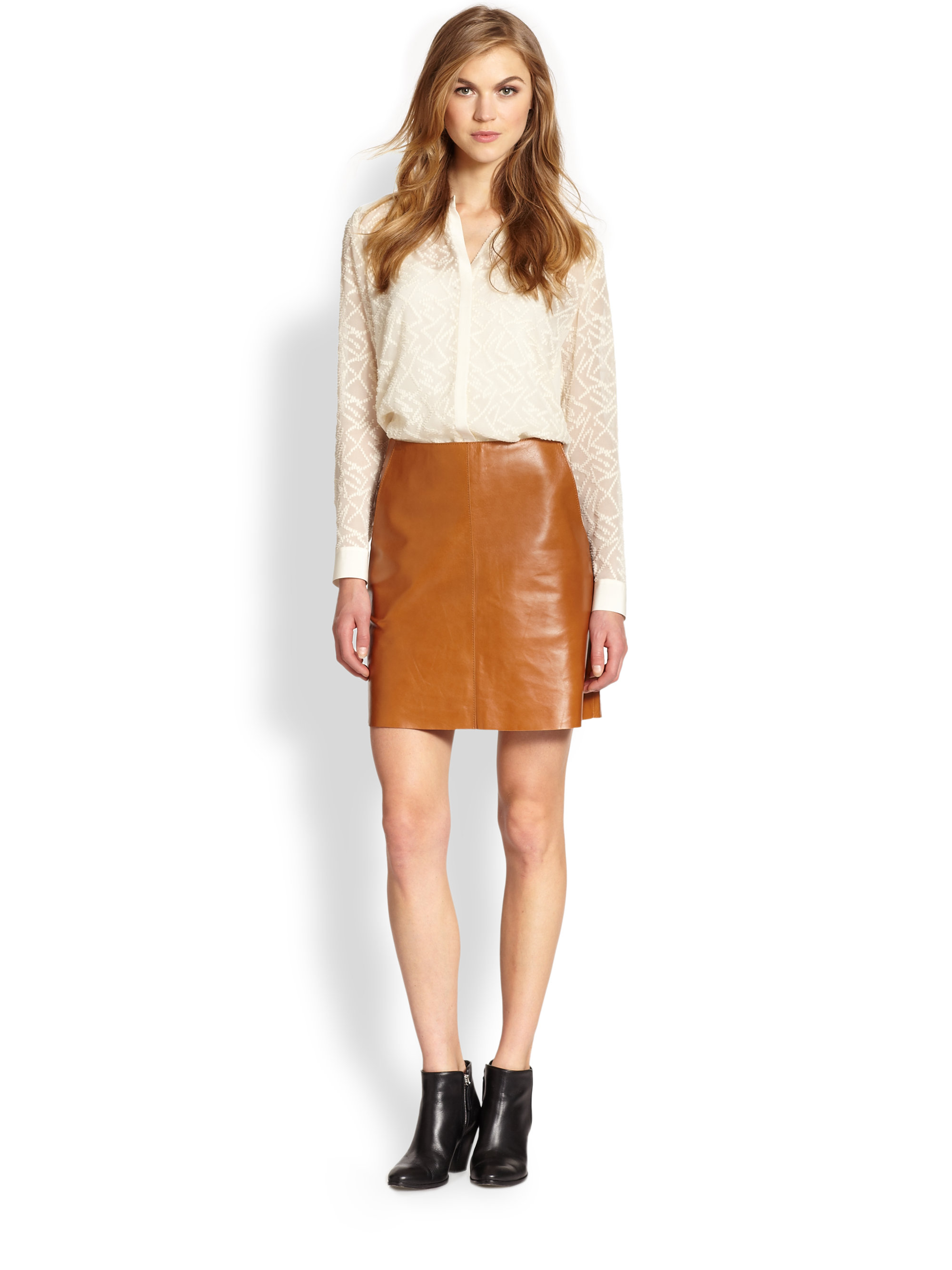 M.i.h jeans Leather Skirt in Brown | Lyst