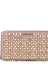 Miu Miu Studded Leather Wallet - Lyst