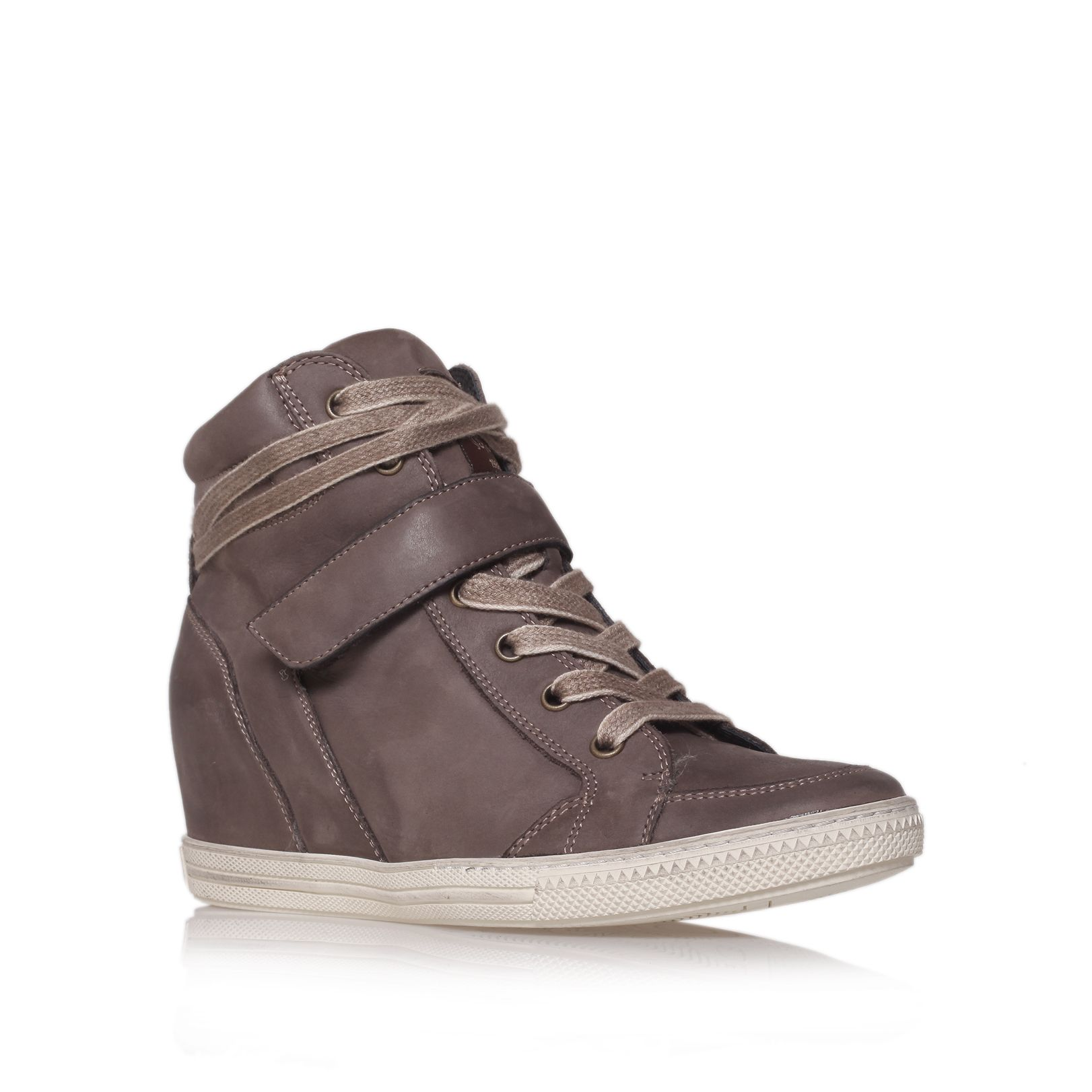 paul green penelope hitop wedge trainer shoes in brown