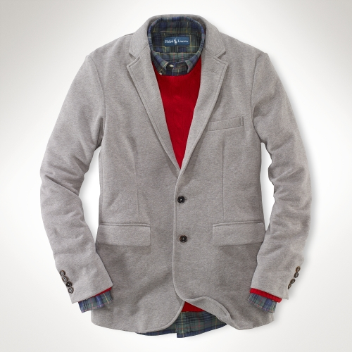 Polo ralph lauren Cotton Fleece Blazer in Gray for Men | Lyst