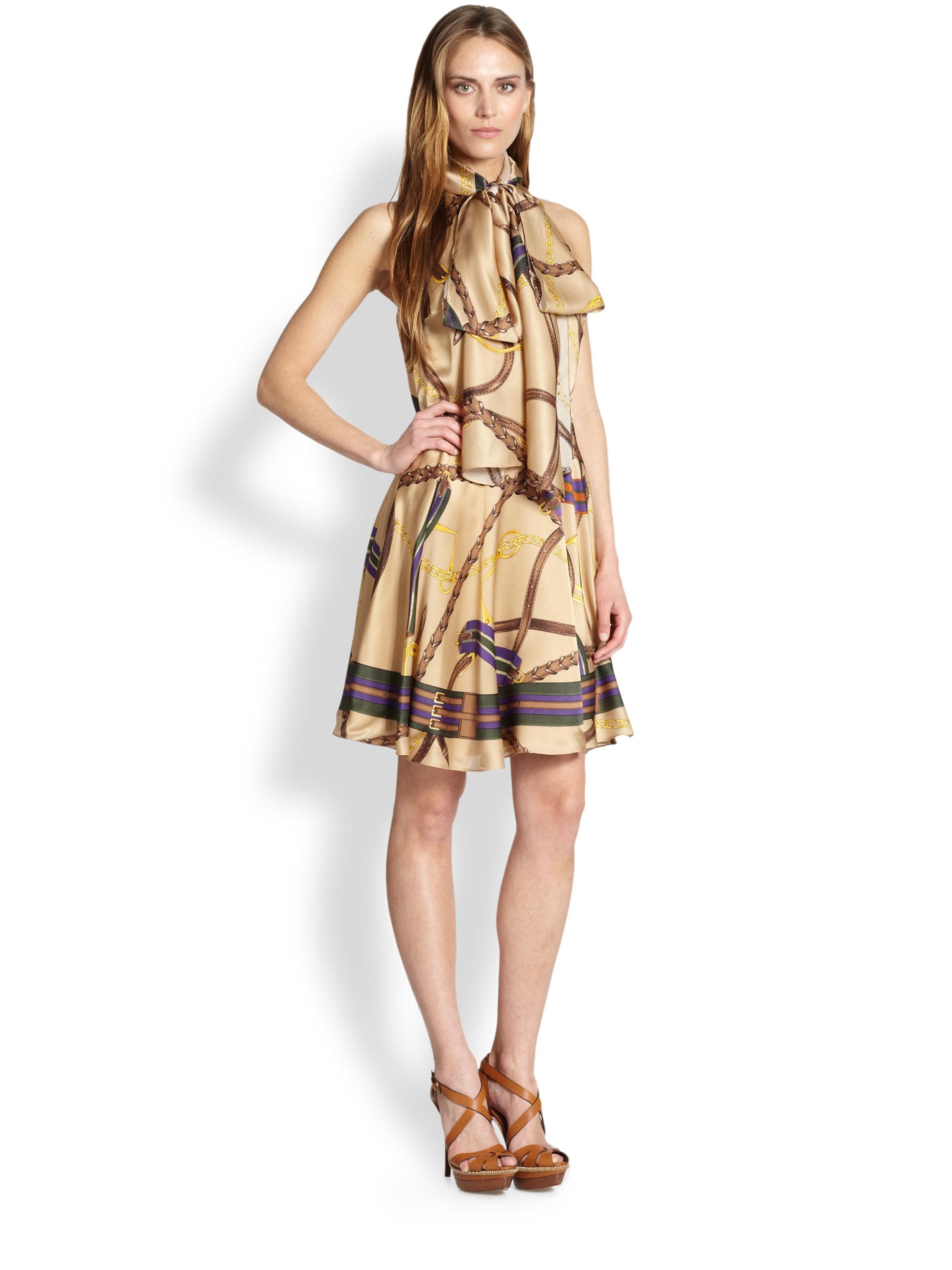 377b021a9e89 Ralph Lauren Blue Label Linette Silk Dress - Lyst