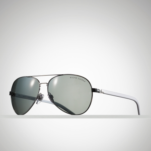 Ralph Lauren Polarized Aviator  ralph lauren small pilot sunglasses in metallic lyst