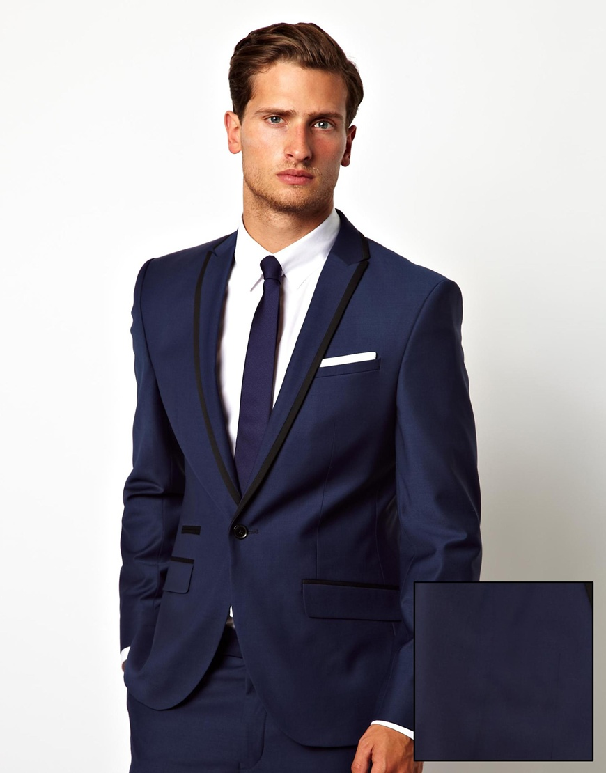 Asos Red Eleven Slim Fit Suit Jacket Blue Sharkskin in Blue for ...