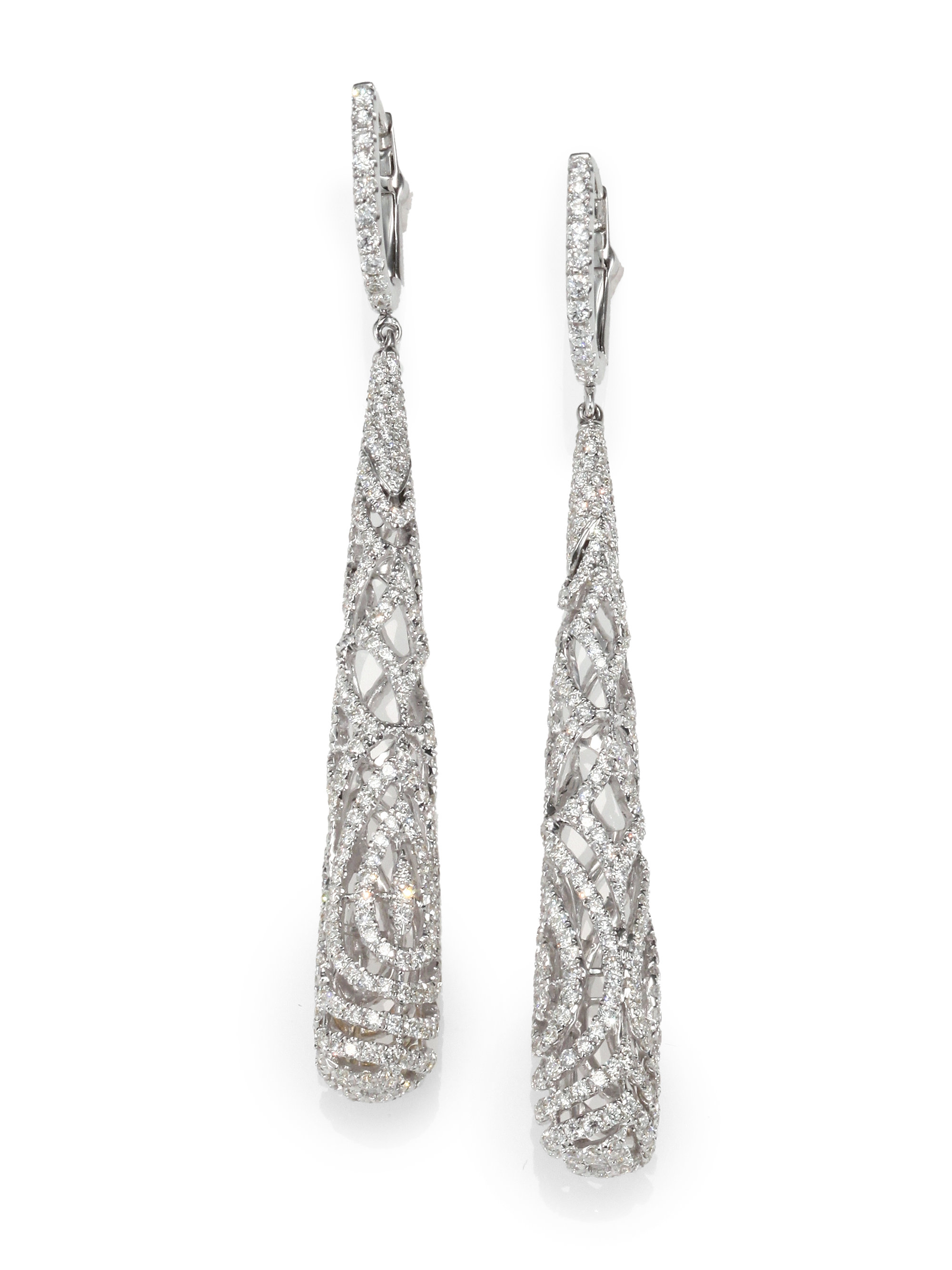 roberto coin 18k white gold diamond drop earrings in. Black Bedroom Furniture Sets. Home Design Ideas