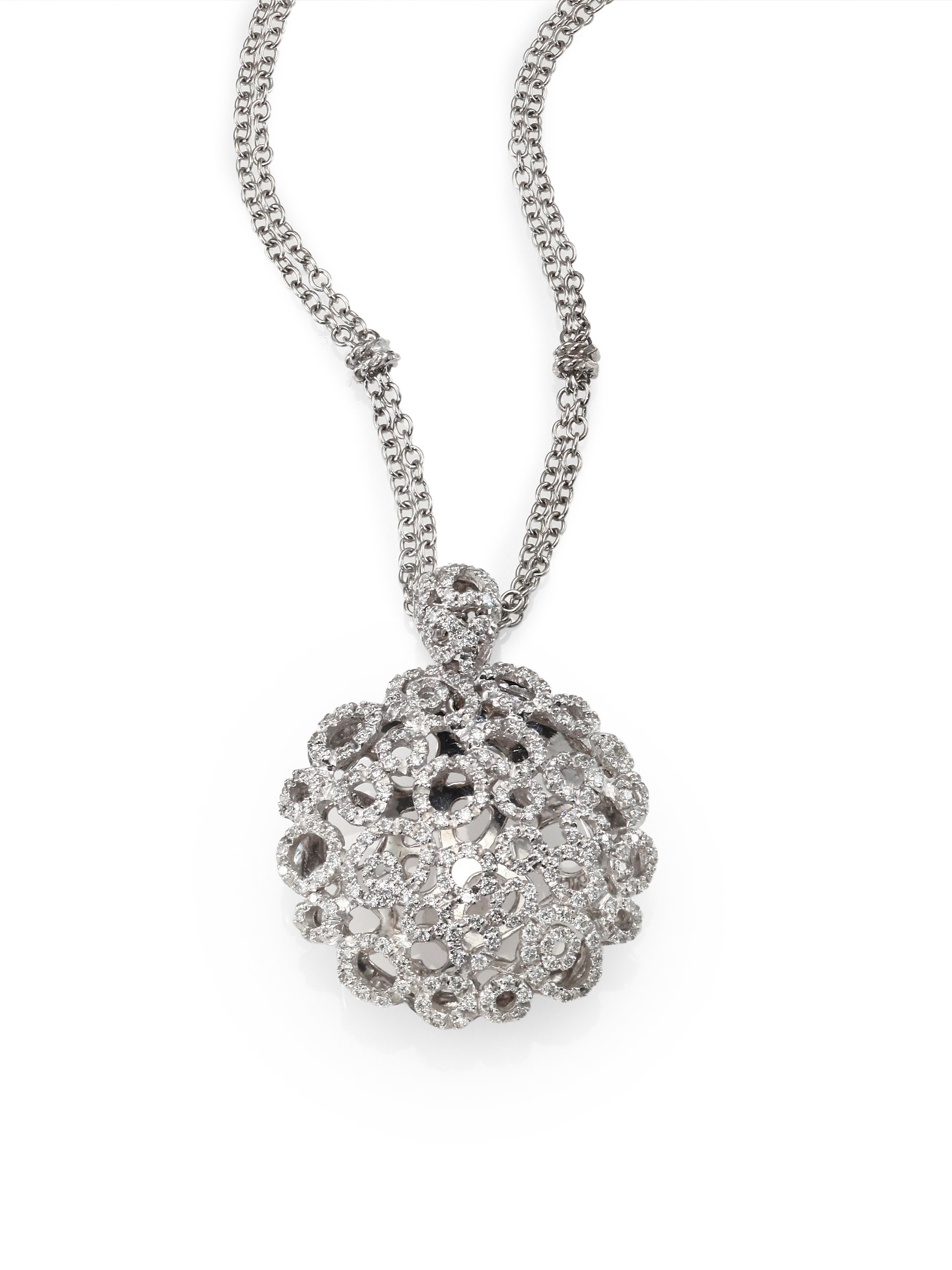Lyst roberto coin diamond 18k white gold filigree pendant necklace gallery mozeypictures Gallery