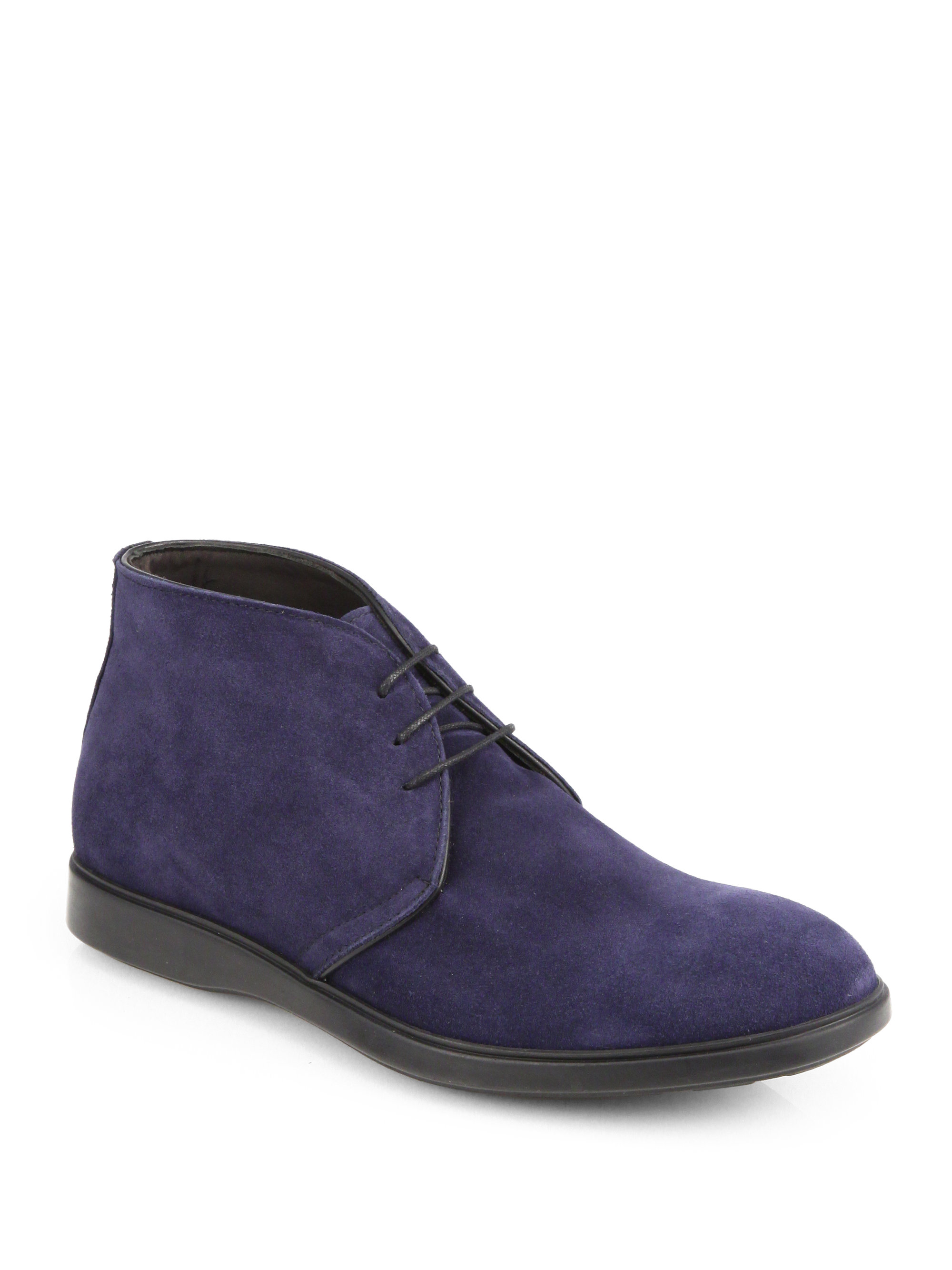 saks fifth avenue suede chukka boots in blue for navy