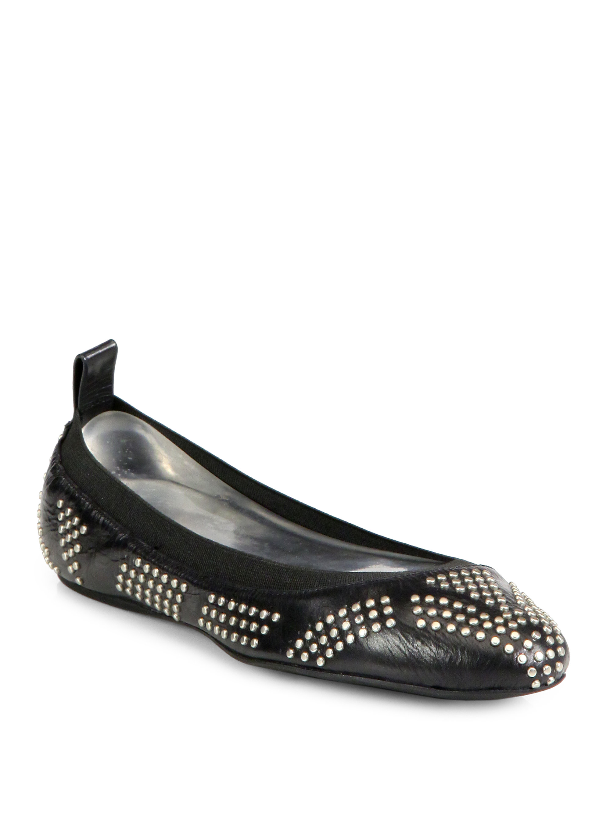 lyst see by chlo studded leather ballet flats in black. Black Bedroom Furniture Sets. Home Design Ideas