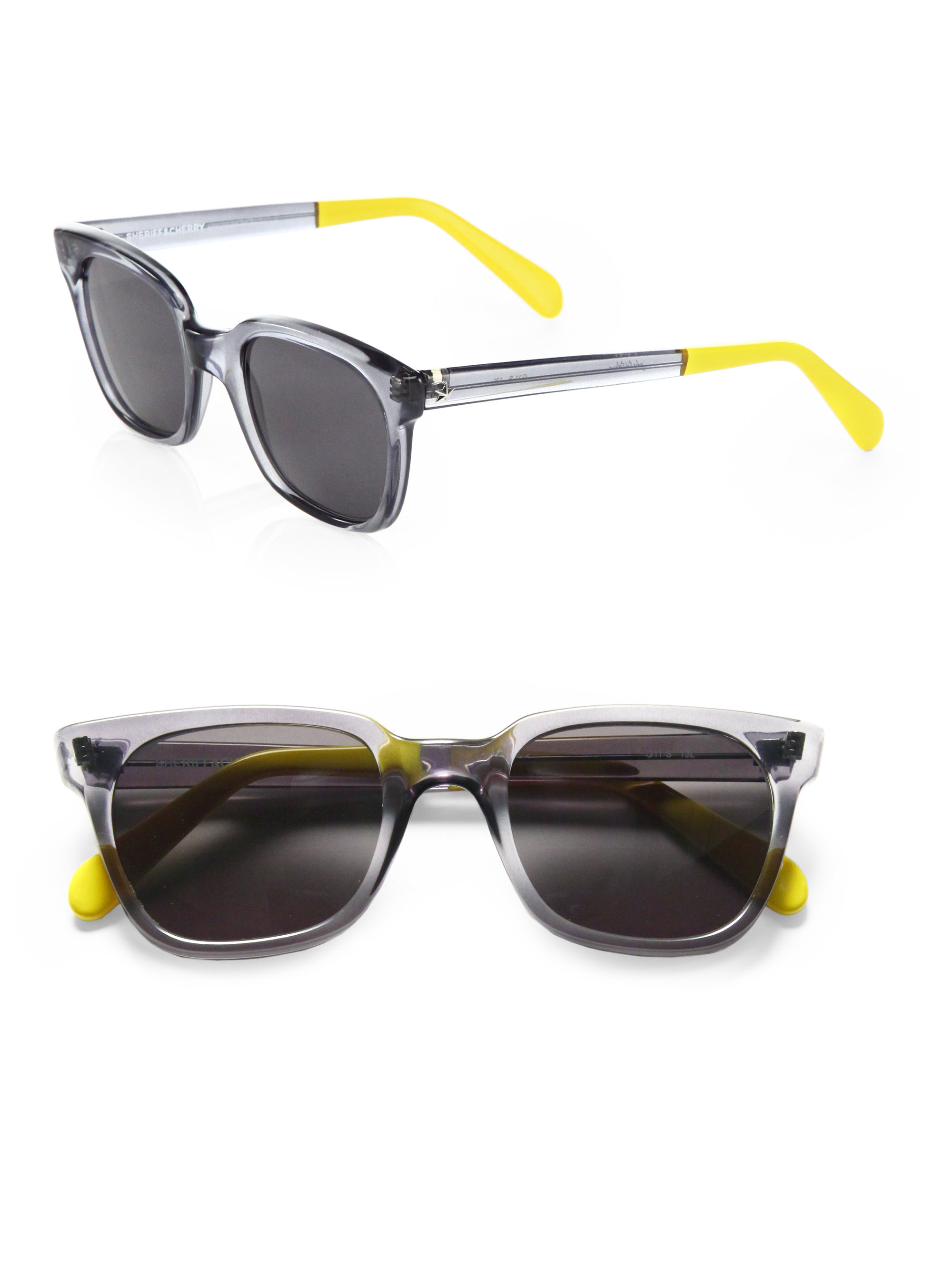 wayfarer square  Sheriff \u0026 cherry Grey Wayfarer Square Sunglasses in Yellow